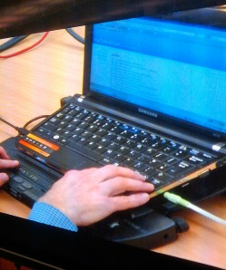 screen reader, lap top and Braille display set up