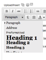 drop down menu showing headings 1-3