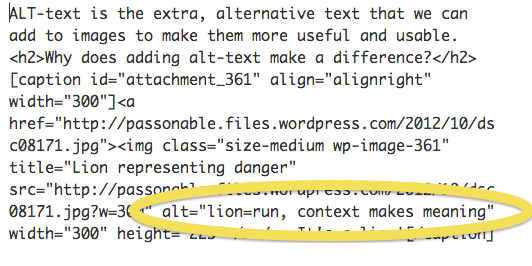 "alt-text in the html ""lion-run, context makes meaning"""