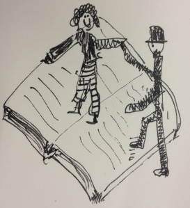 one stick figure helping another on to the same page of an open book